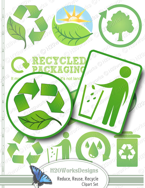 Green Reduce, Reuse, Recycle Clip Art Set.