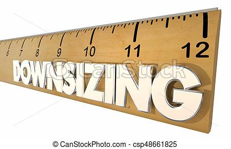 downsizing, règle, compagnie, taille, illustration, économique, réduire,  changement, 3d.