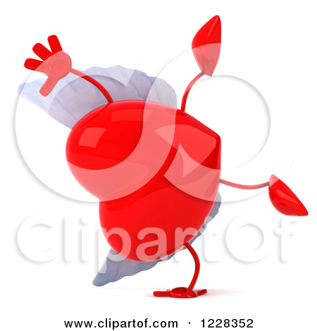 Clipart of a 3d Red Winged Heart.