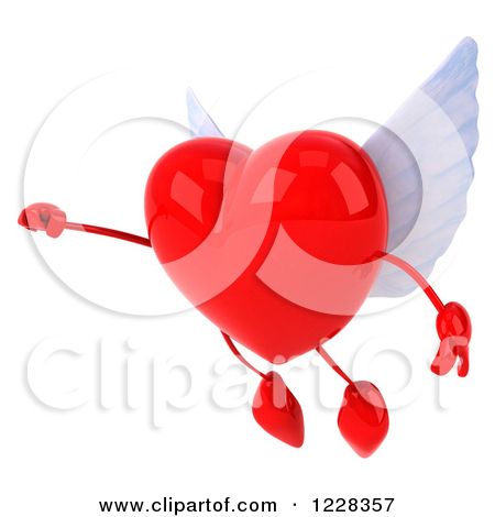 Clipart of a 3d Flying Red Winged Heart.