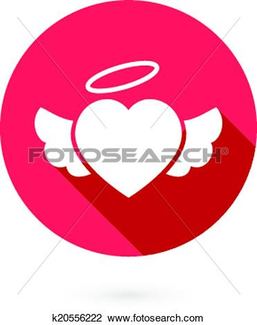 Clipart of Red winged heart icon with shadow k20556222.