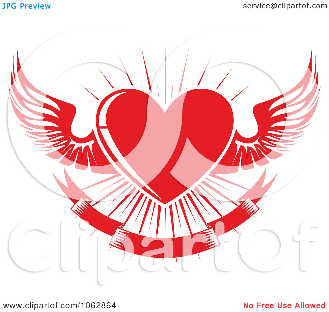 Clipart Red Winged Heart And Banner.