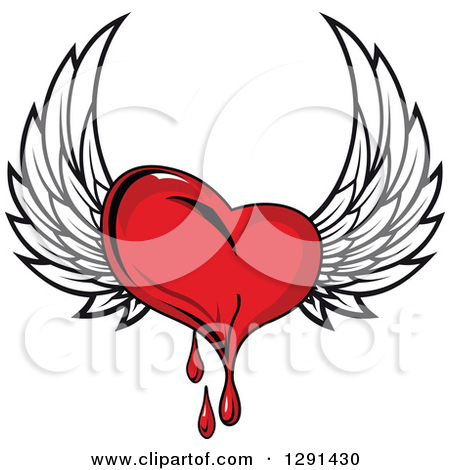 Clipart Red Winged Heart With Holes.