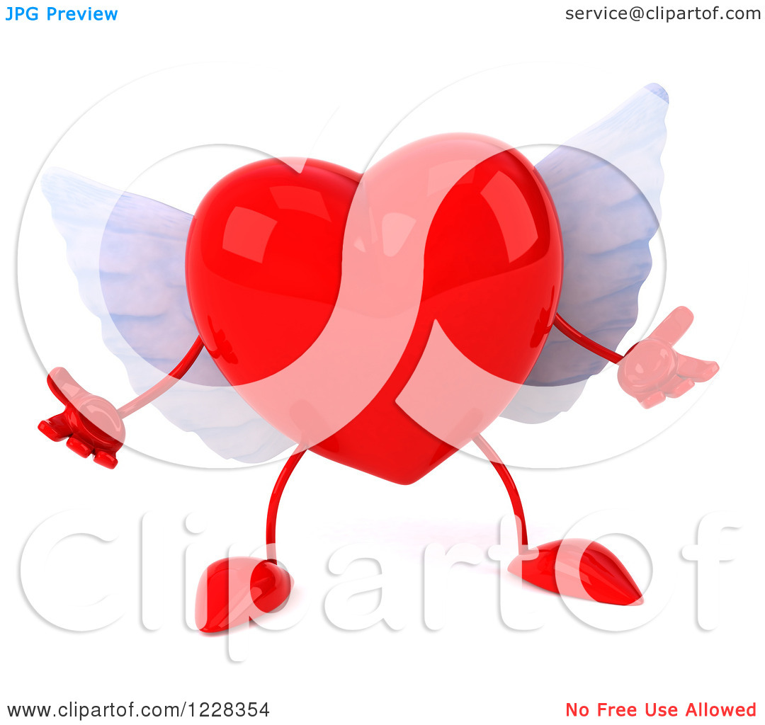 Clipart of a 3d Shrugging Red Winged Heart.