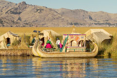 Reed Boat On Island Of Uros Lake Titicaca Peru And Bolivia. Stock.