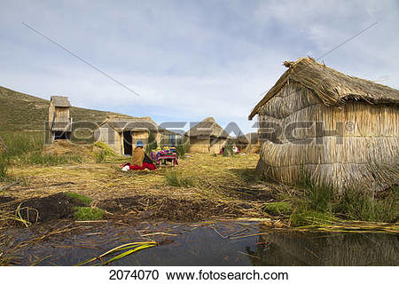 Stock Photography of Totora Reed Houses On Chisawa, A Reed Island.