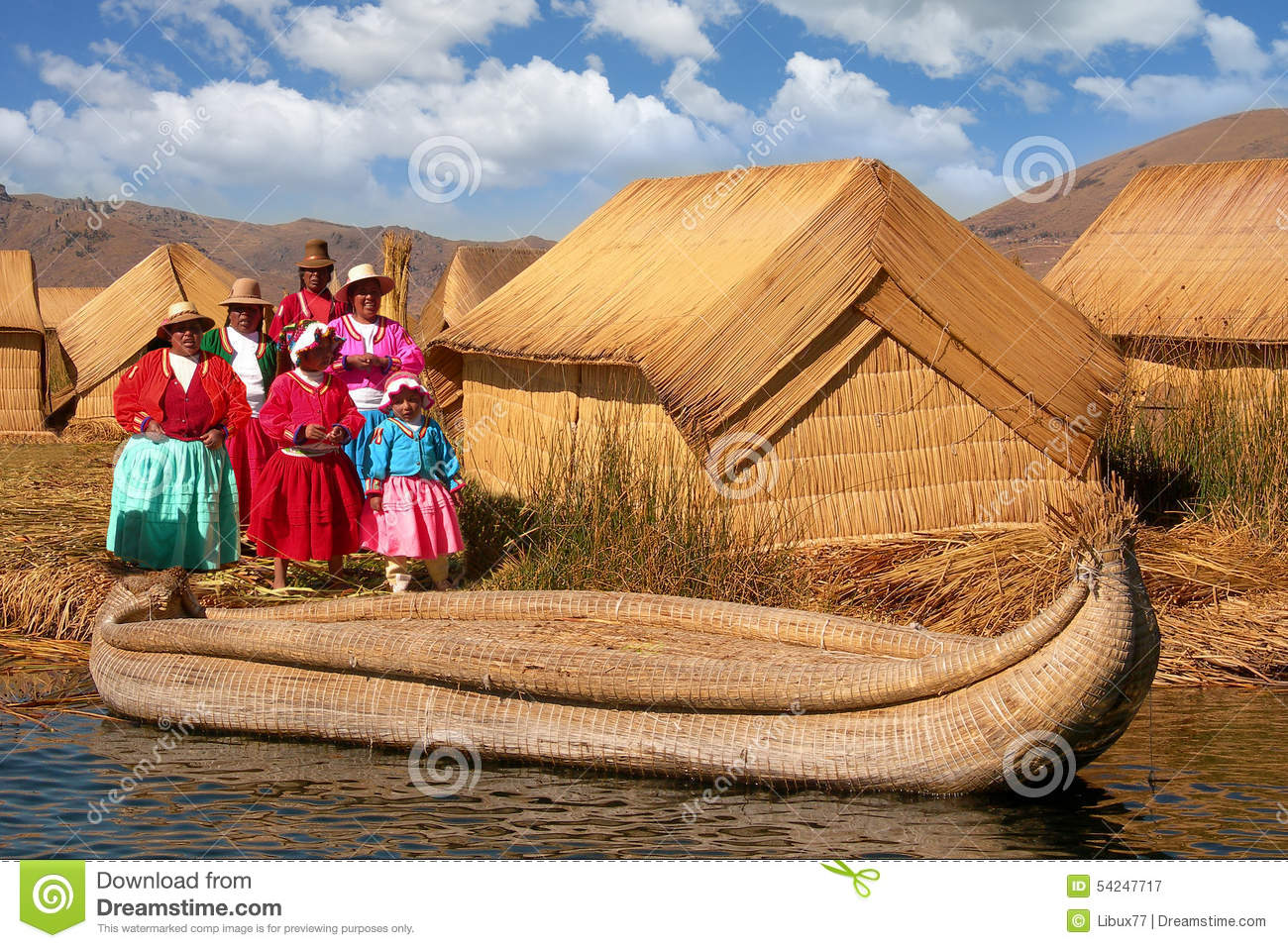 Women Uros Reed Huts Lake Titicaca Floating Island Editorial.