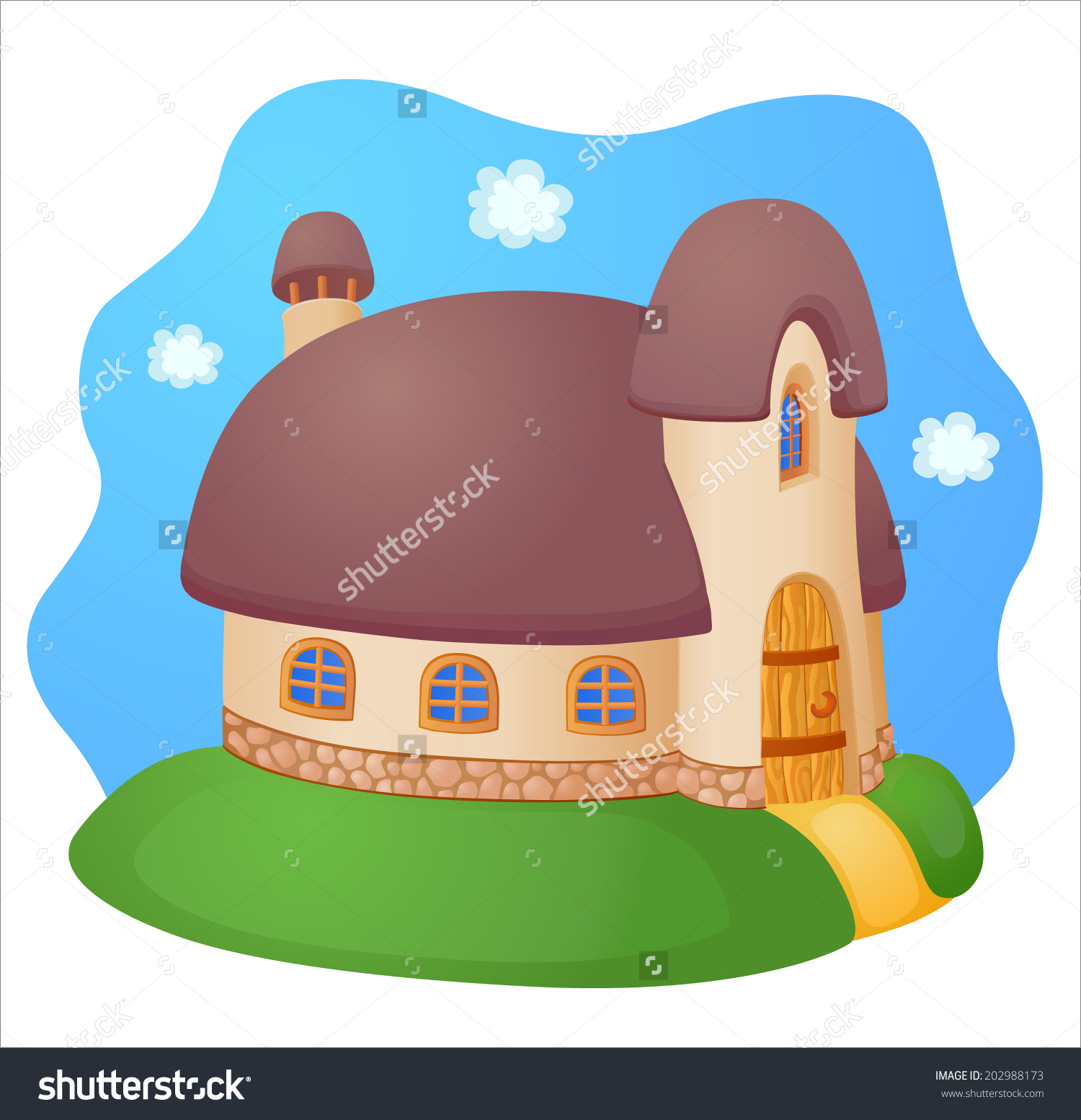 Fairy House With A Reed Roof Stock Vector Illustration 202988173.