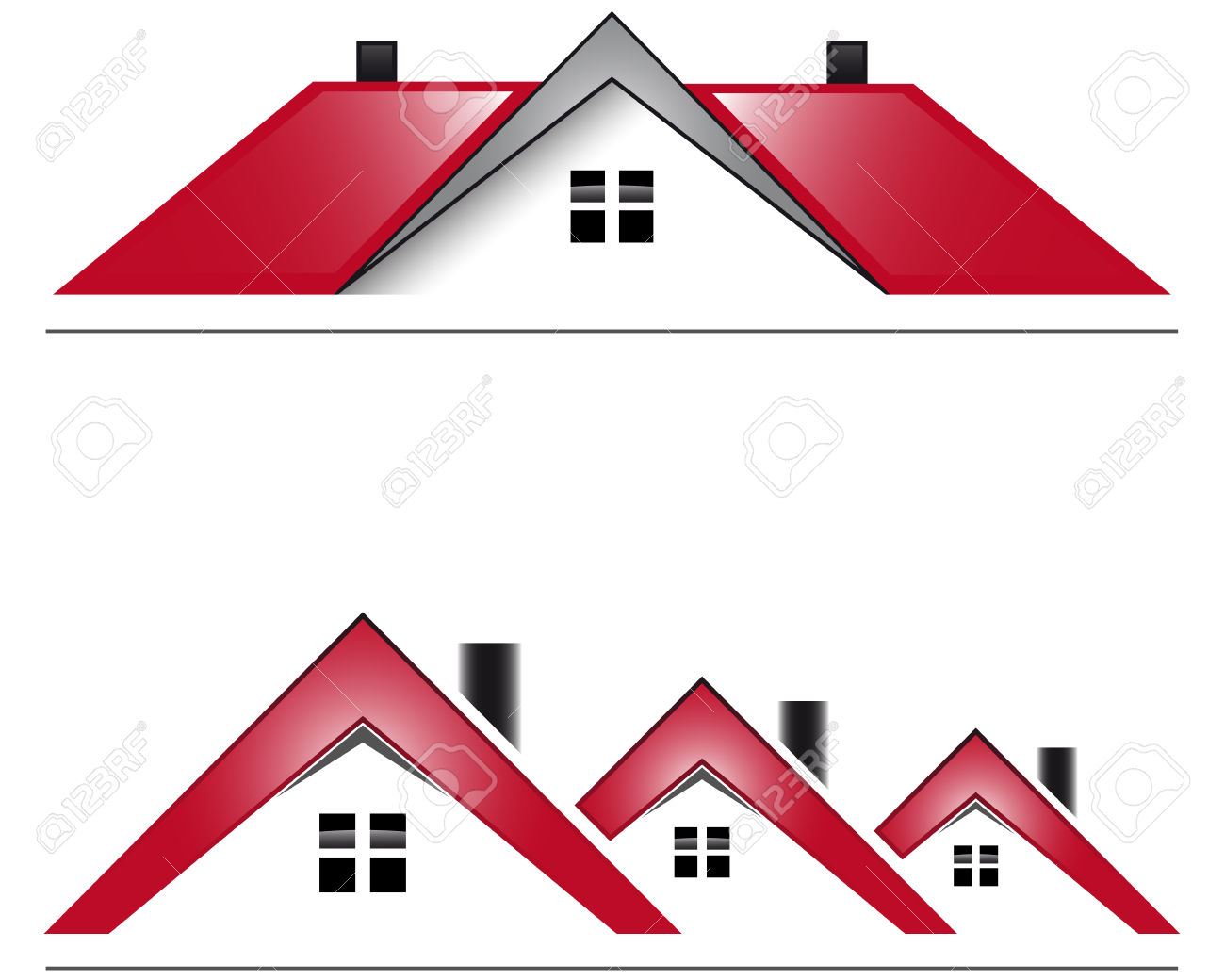 Two Icon House With Red Roof Royalty Free Cliparts, Vectors, And.