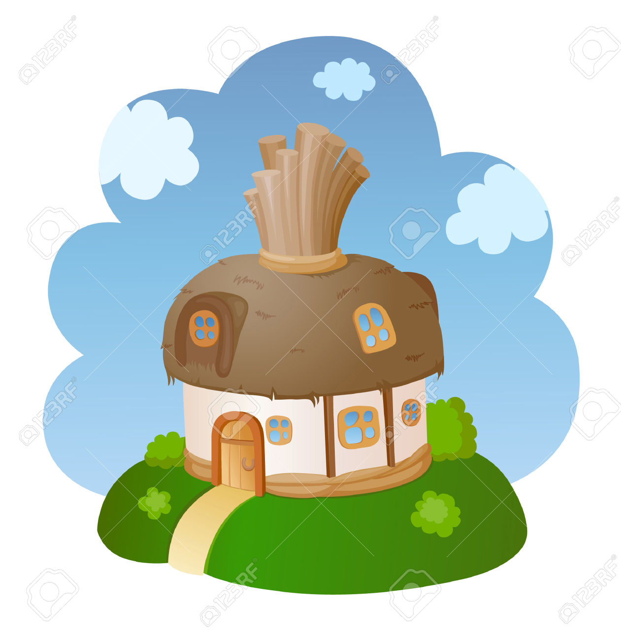 Little Fairy House With A Reed Roof Royalty Free Cliparts, Vectors.