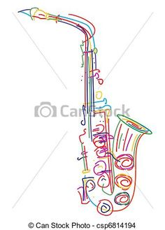 Clipart of Saxophone with musical notes k21002135.