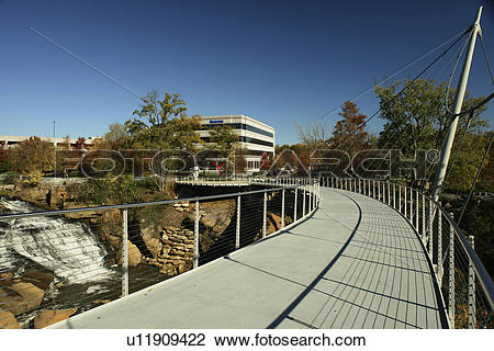 Stock Photo of Greenville, SC, South Carolina, Reedy River Falls.