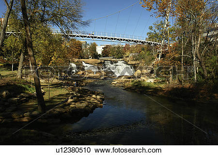 Stock Photography of Greenville, SC, South Carolina, Reedy River.