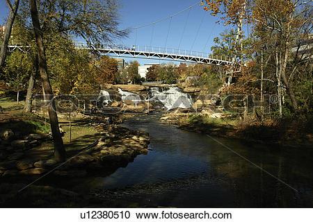 Stock Photography of Greenville, SC, South Carolina, Reedy River.