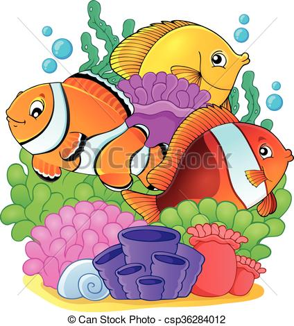 Vector Clip Art of Coral reef fish theme image 6.