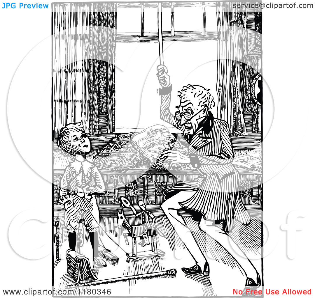 Clipart of a Retro Vintage Black and White Grandfather Re Enacting.