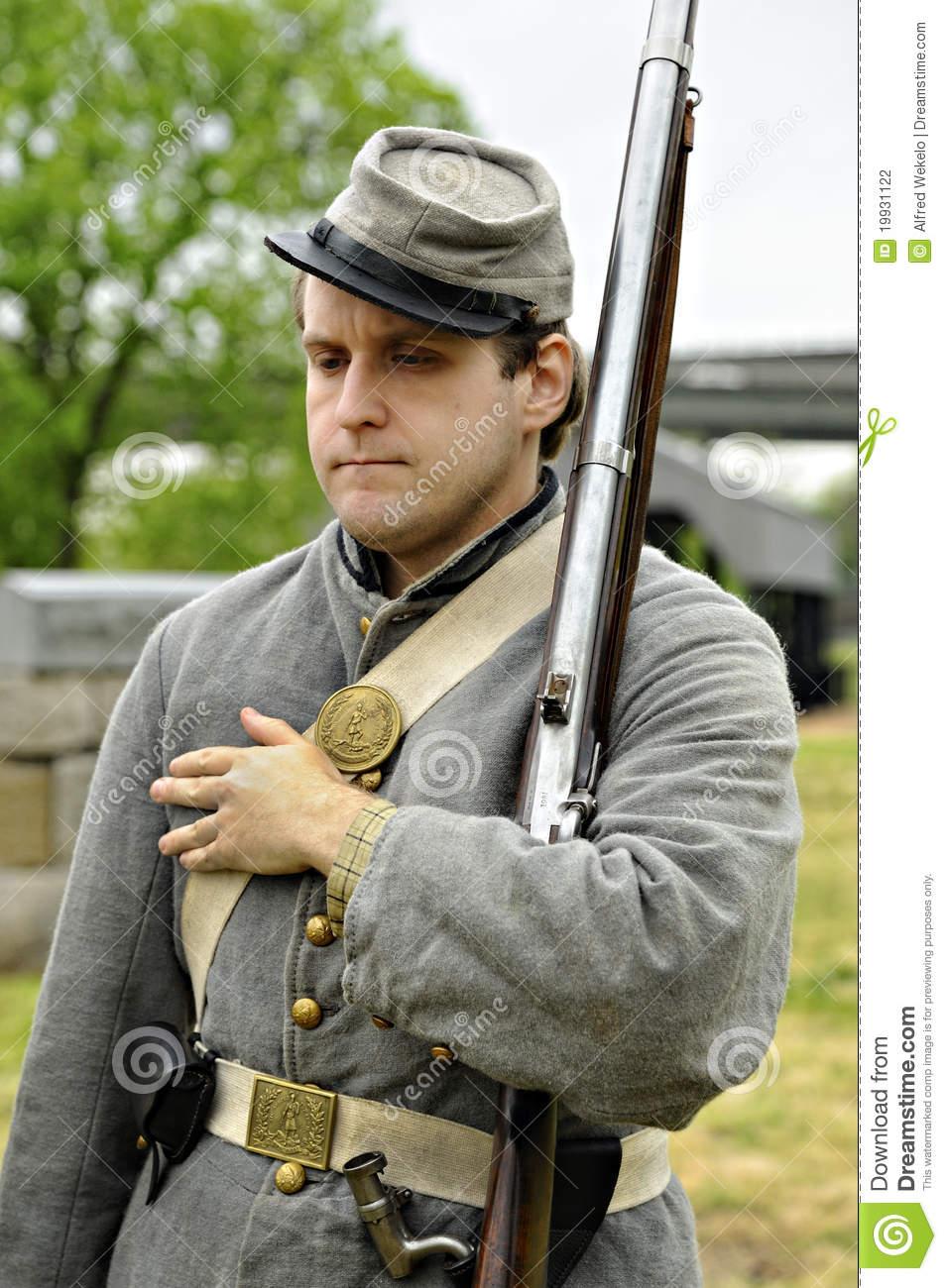 Civil War Militia Soldier Reenactor Editorial Photography.