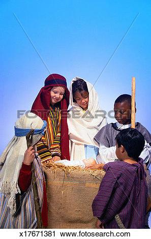 Stock Photography of Children Reenacting Nativity x17671381.