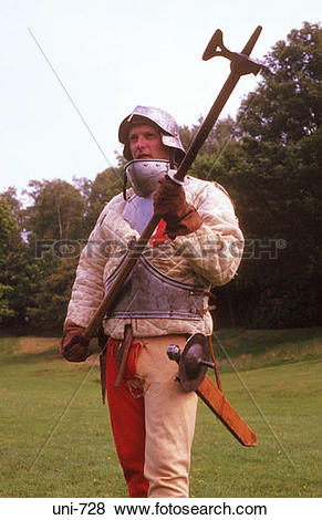 Pictures of Reenactor Dressed in Armour with War Hammer UK uni.