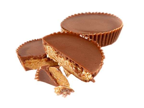 Split Reese\'s Peanut Butter Cups transparent PNG.