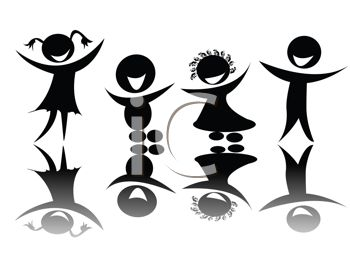 Royalty Free Clip Art Image: Silhouettes and Reflections of.