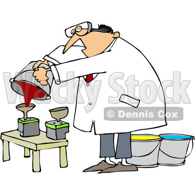 Free (RF) Clip Art Illustration of a Man Refilling Printer Ink.