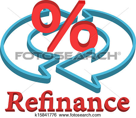 Clipart of Refinance home mortgage loan icon symbol k17648945.