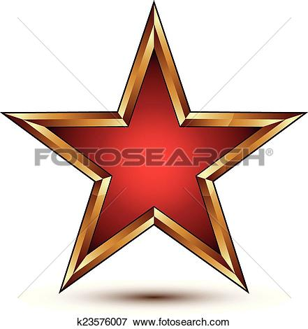 Clip Art of Refined vector red star with golden outline, festive.