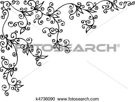 Clipart of Refined Floral vignette CCII k4736090.