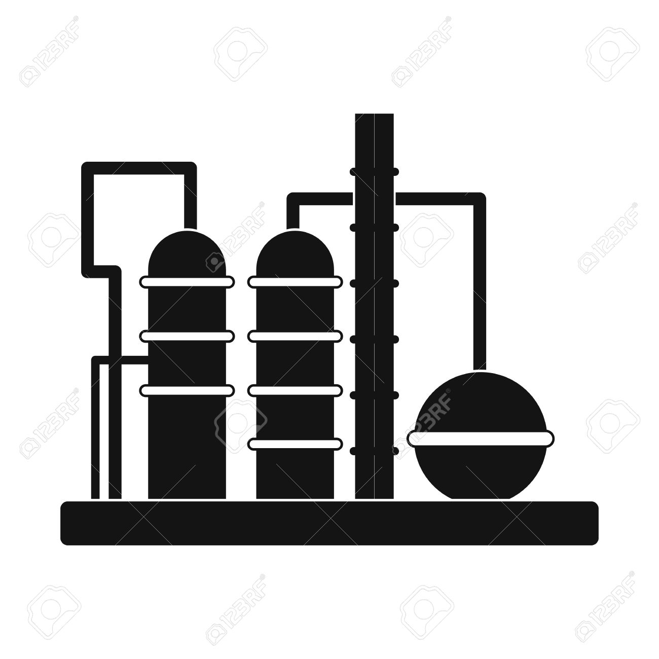 Oil Refinery Clipart Black And White.