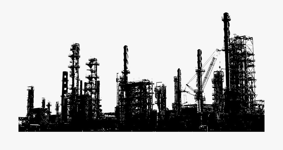 Oil Refinery Silhouette.
