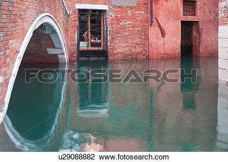 Stock Photo of Close up view of red brick arch of bridge and wall.