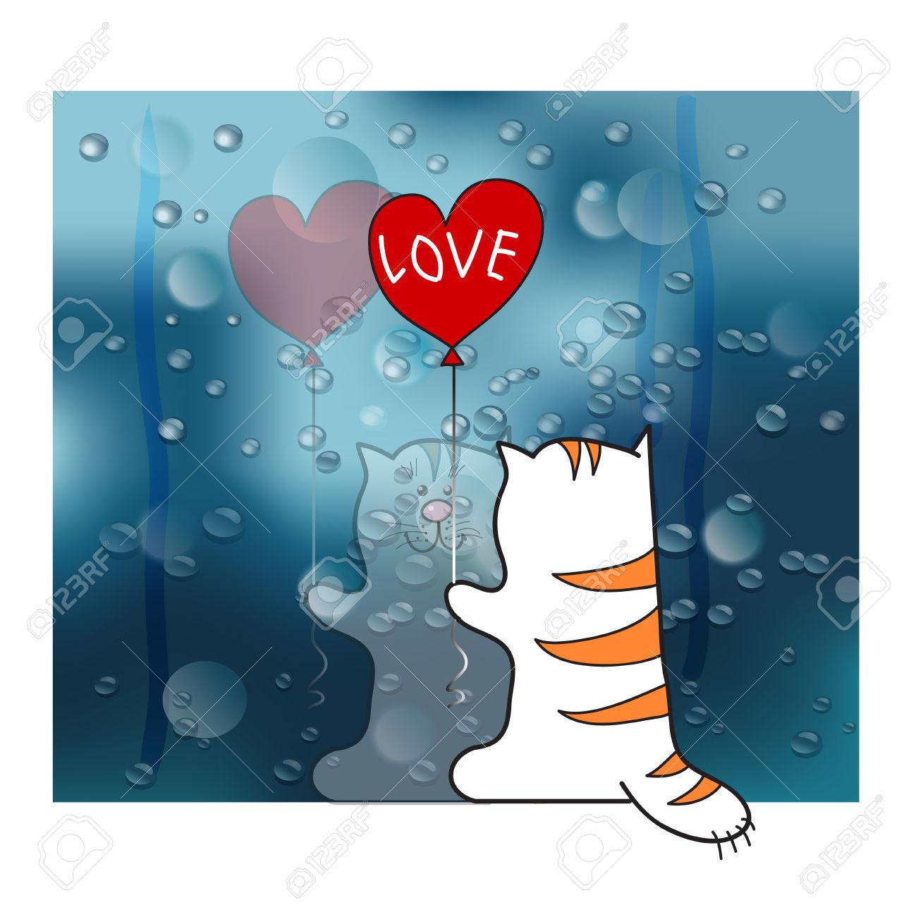 Reflected In The Rainy Window Cat Cartoon Royalty Free Cliparts.