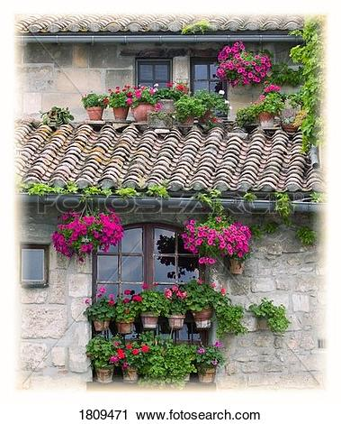 Stock Photography of Flower pots in windows in Arles, Provence.