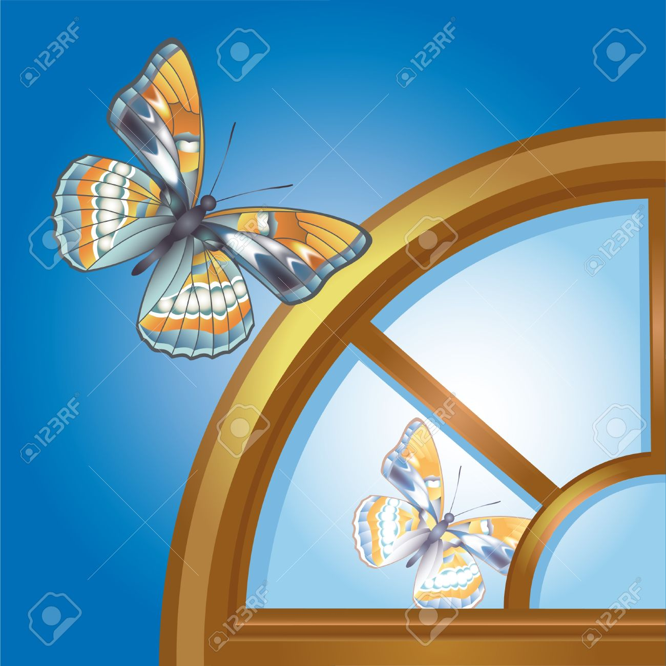 Butterfly Reflected In Arched Window Royalty Free Cliparts.