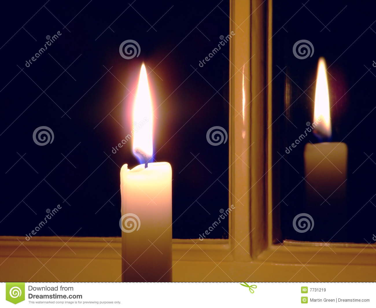 Candle By The Window Royalty Free Stock Images.