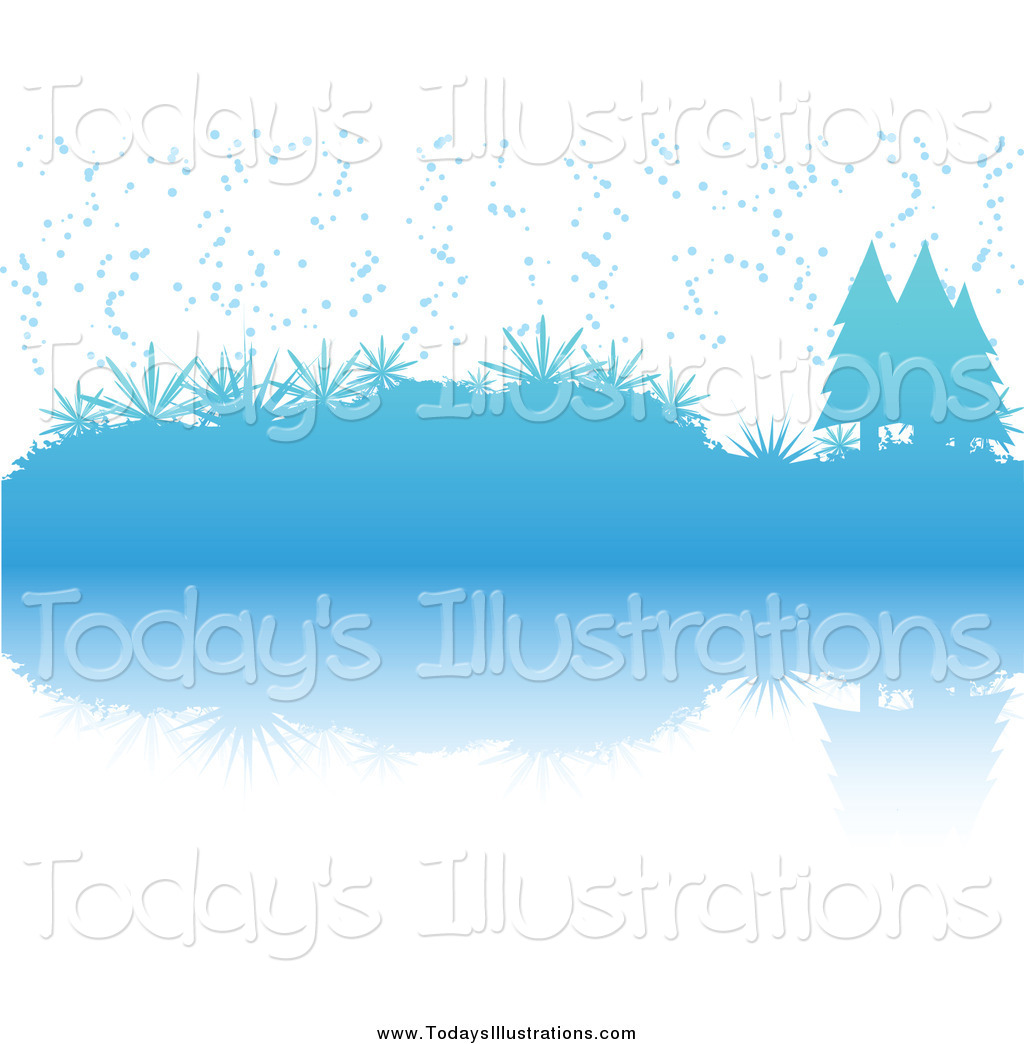Clipart of a Blue Winter Christmas Scene of Snow Falling on.