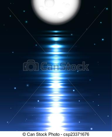 Vectors Illustration of Moon reflection over water against black.