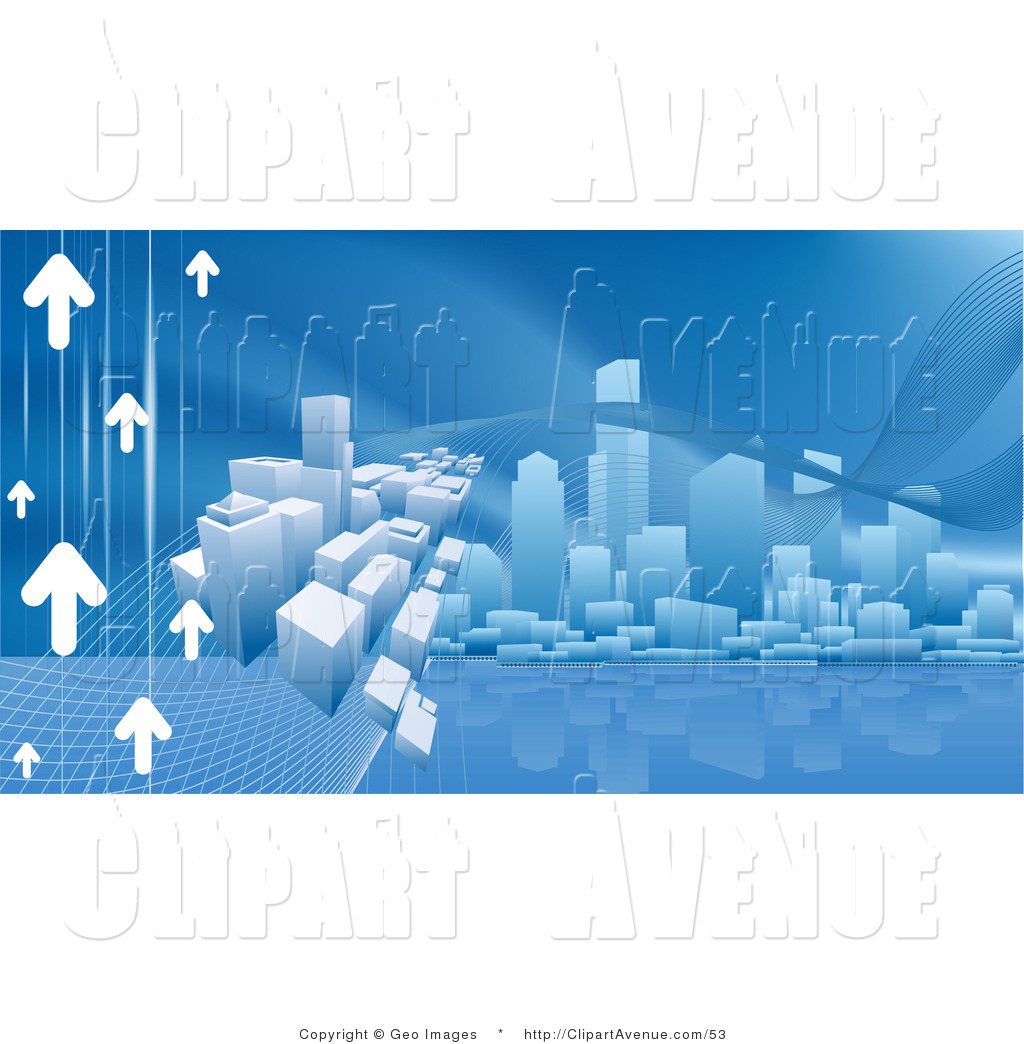Avenue Clipart of a Blue Internet Web Background of Arrows Heading.
