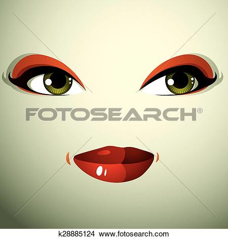 Clipart of Attractive woman with stylish bright make.