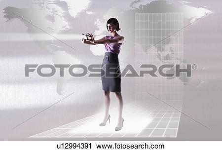 Stock Photography of Young woman reflecting bright light by world.
