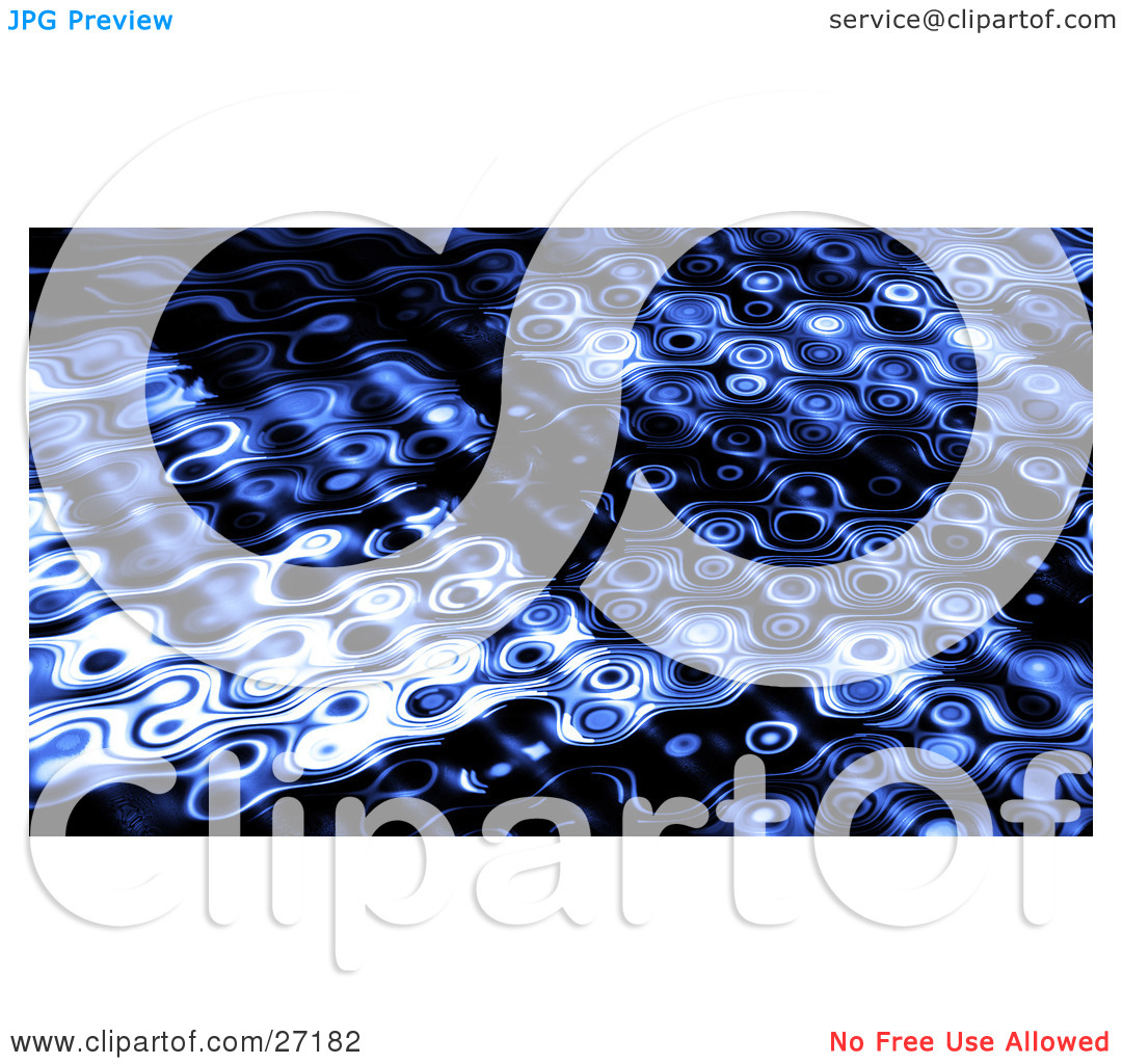 Clipart Illustration of a Dark Blue Rippling Background Of Circles.