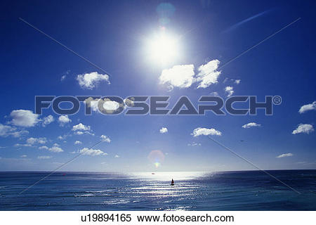 Stock Image of the Sun Shining Brightly, the Ocean Reflecting Its.