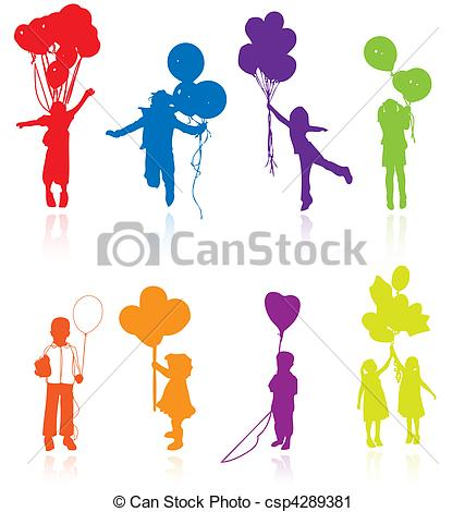 Vector Clip Art of Colored reflecting silhouettes of playing.