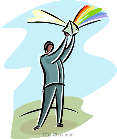 man with a prism reflecting light Royalty Free Vector Clip Art.