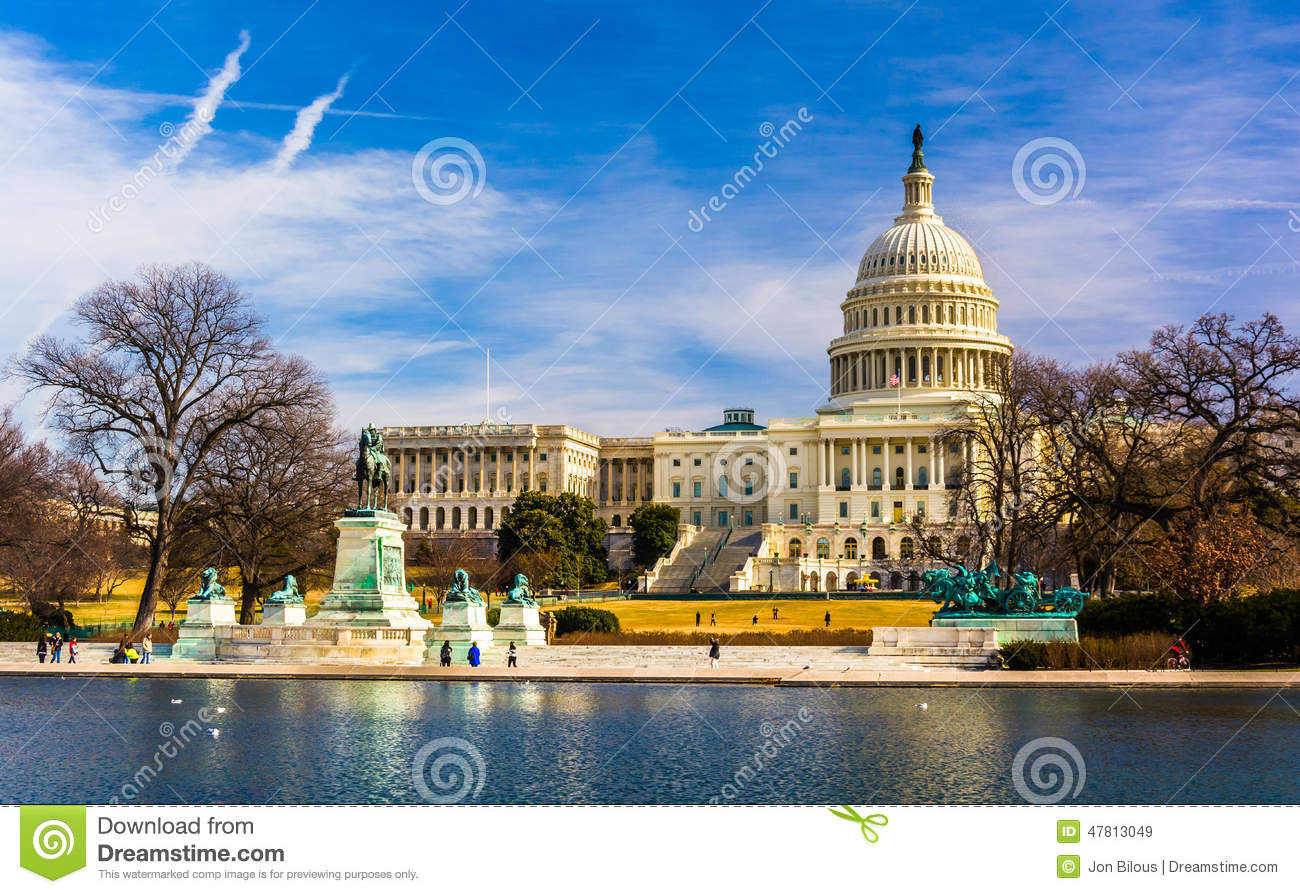 The Capitol And Reflecting Pool In Washington, DC. Stock Photo.