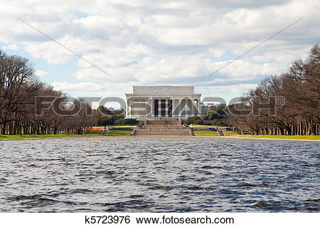 Stock Images of Winter Lincoln Memorial Reflecting Pool Washington.