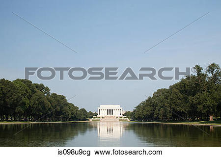 Stock Photo of Lincoln memorial and reflecting pool, Washington DC.