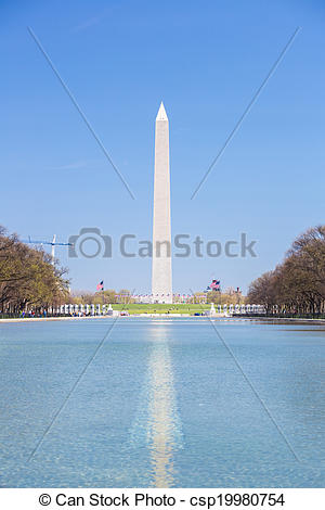 Stock Images of Washington Monument in new reflecting pool.