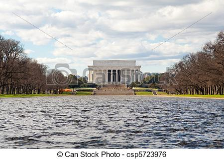 Stock Image of Winter Lincoln Memorial Reflecting Pool Washington.